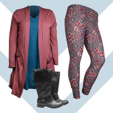 Cardigan, leggings, and boots