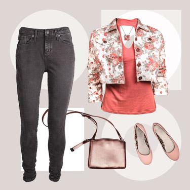 Lamé shirt, pants, purse, and flats