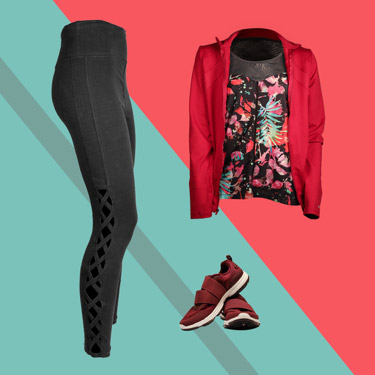 Shirt, leggings, and sneakers